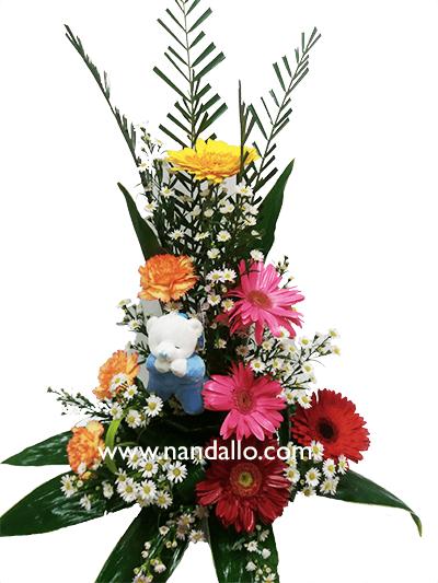 Arreglo Floral Con Gerberas Margaritas Y Peluche