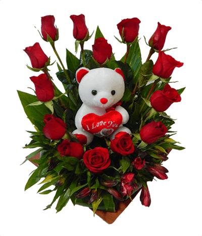 Fino Arreglo Floral Con Rosas En Forma De Corazón
