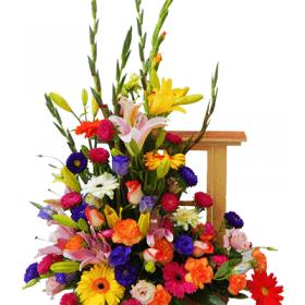 Ventana con flores primaverales