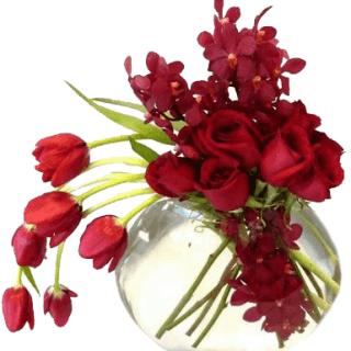 Arreglo floral en pecera flores rojo