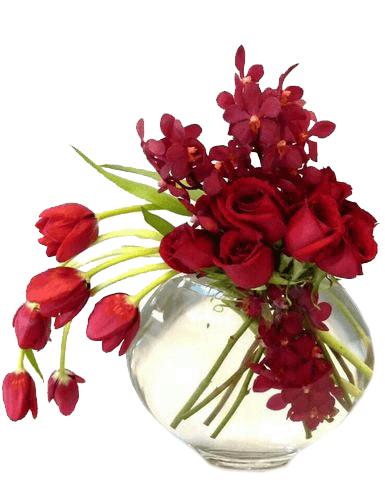 Arreglo Foral En Pecera Con Tulipanes Rosas Y Orquídeas