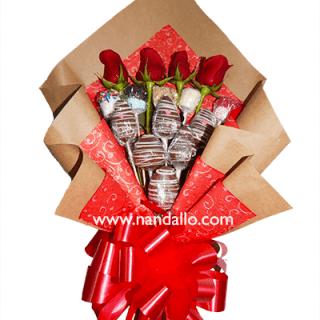 Ramo frutal con rosas y chocolate
