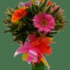 Arreglo floral con gerberas y fresas con chocolate