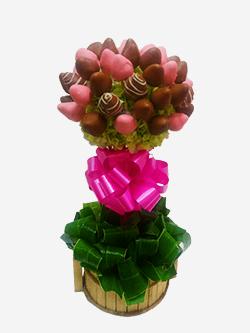 Topiario de fresas con chocolate