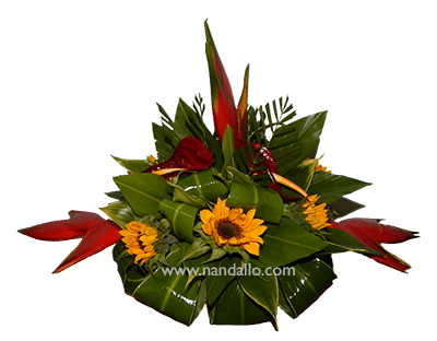 Centro de mesa flores tropicales