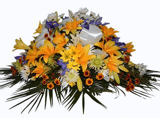 arreglo de flores para funeral amarilo