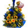Arreglo floral para hombre con calas azules