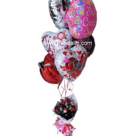 Globos de helio con ramo frutal y floral