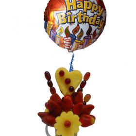 arreglo frutal con mensaje de cumpleaños