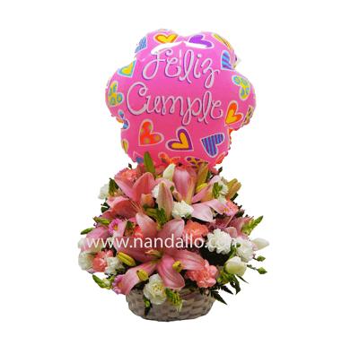 Canasta Con Flores Primaverales Rosadas Con Globo