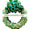 Corona fúnebre con bouquet turquesa
