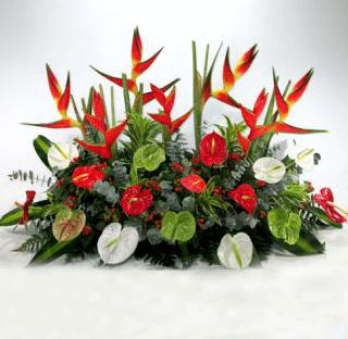 Arreglo floral tropical para podium