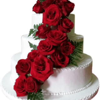 Decoración de queque con rosas naturales