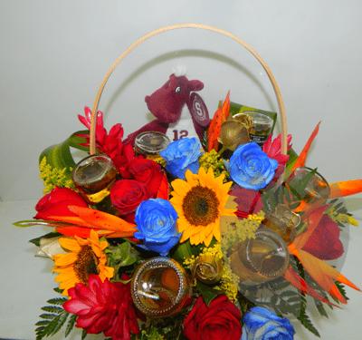 Canasta Floral Con Cervezas Corona Extra