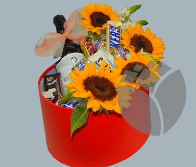 caja de regalo con girasoles